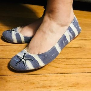 COACH Addy Starfish Striped Canvas Ballet Flats 8B